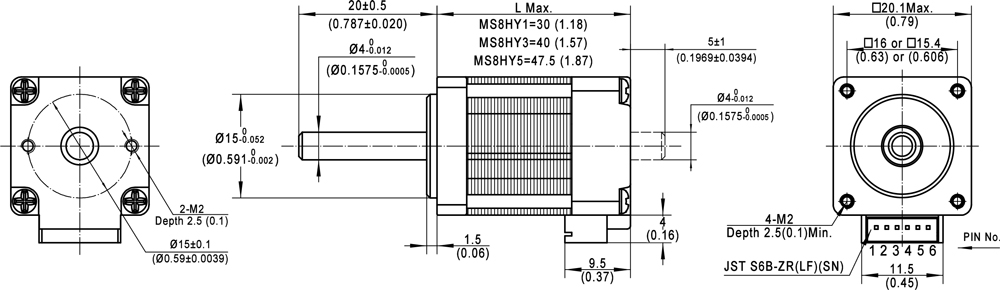 Mounting Dimensions of Encoder