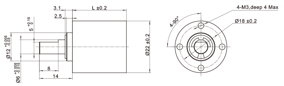 Dimension of MS8HY Series Stepper Motor + Planetary Gearhead