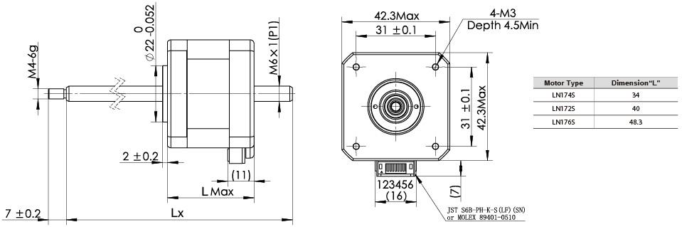 The drawing of NEMA17 non-captive linear stepper motors