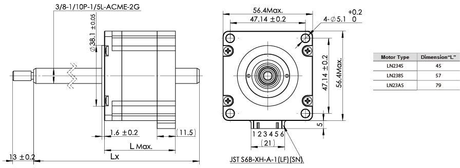 The drawing of NEMA23 non-captive linear stepper motors