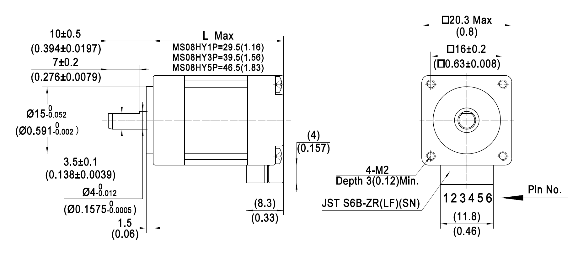 Dimensions of NEMA 8 Standard Hybrid Stepper Motors