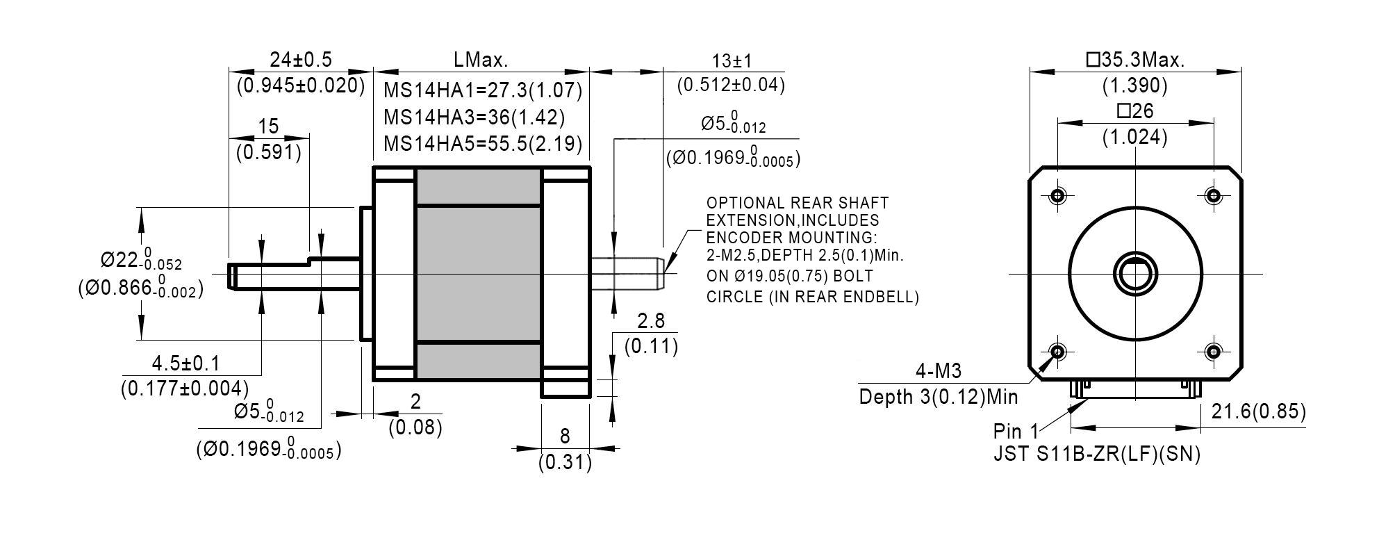 Dimensionsof NEMA 14 High Precision Hybrid Stepper Motors