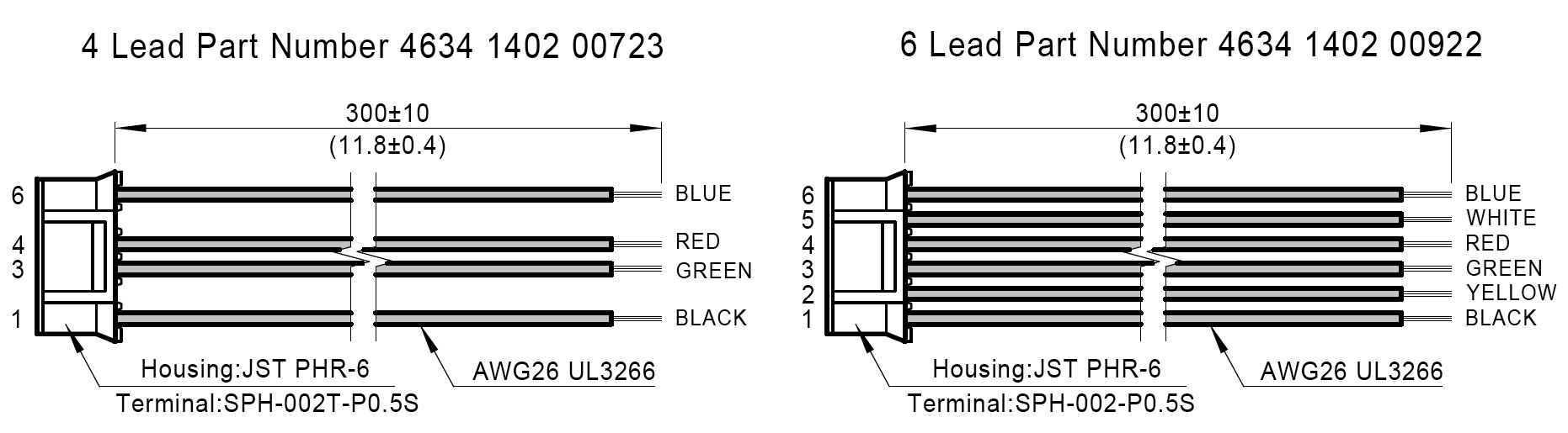 Mating connector With Leads(order separately) Dimensions: mm(in)