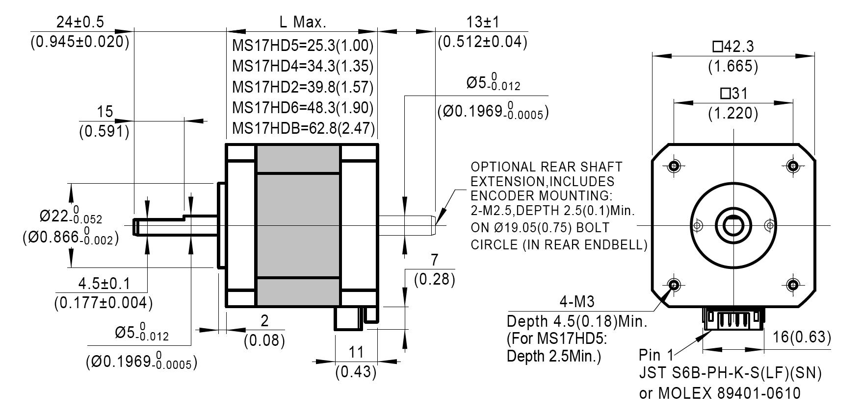 Dimensions of NEMA 17 Standard Hybrid Stepper Motors