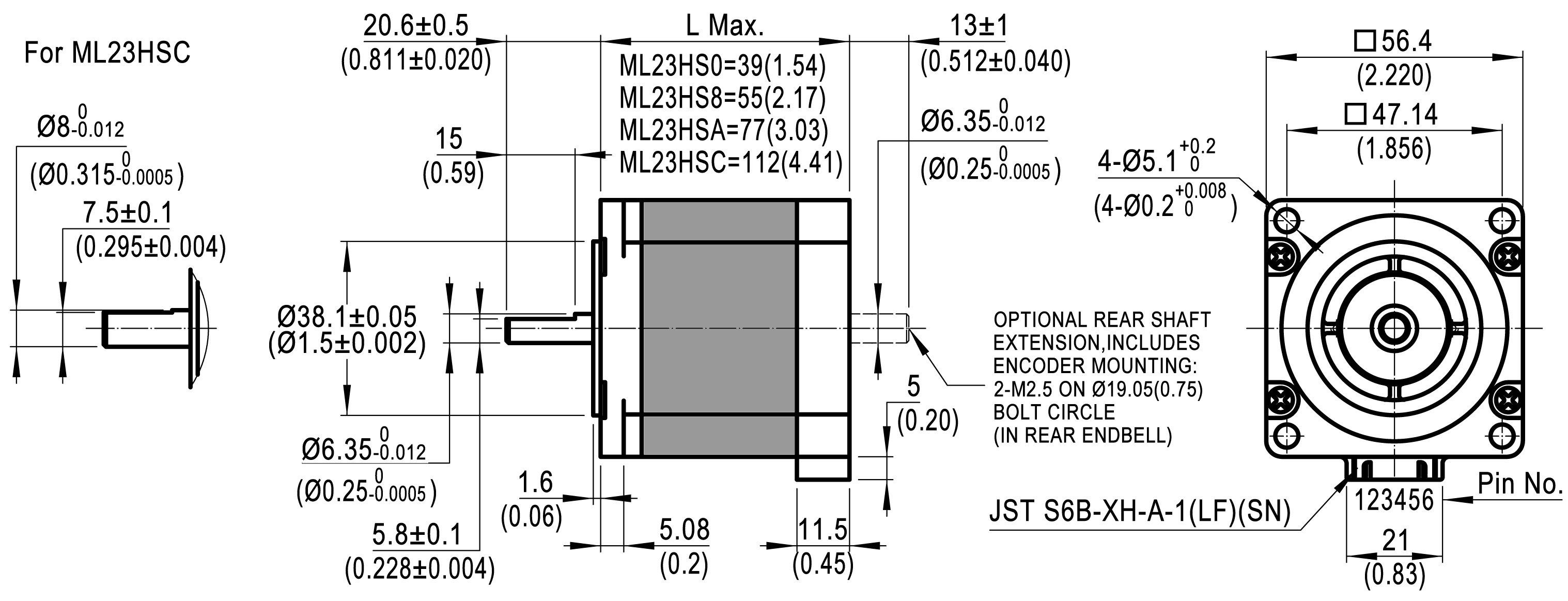 Dimensions of NEMA 23 High Precision Hybrid Stepper Motors