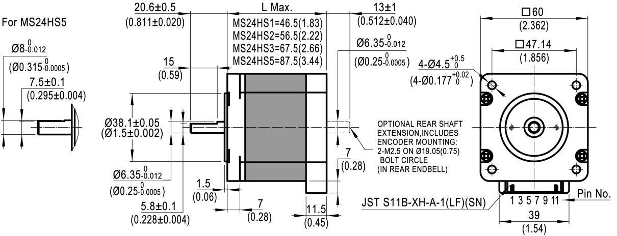 Dimensions of NEMA 24 Standard Hybrid Stepper Motors