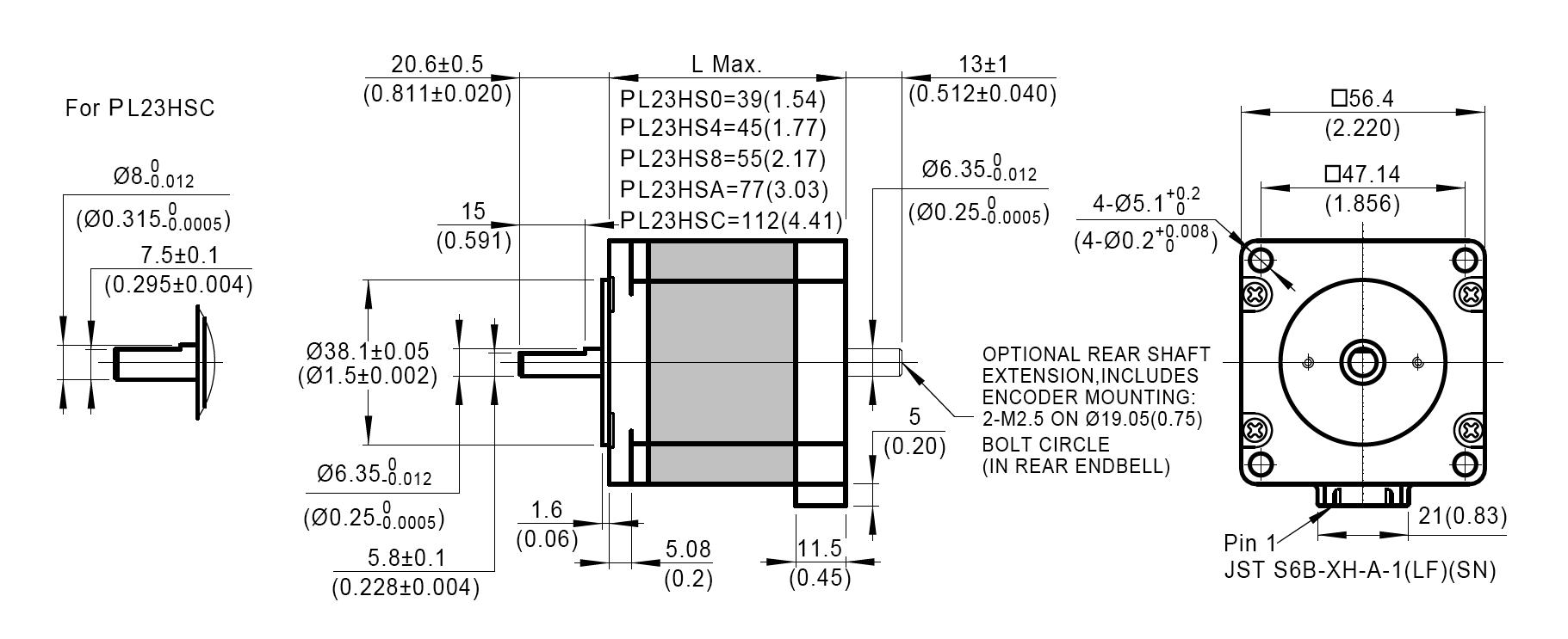 Dimensionsof NEMA 23 PowerPlus Hybrid Stepper Motors
