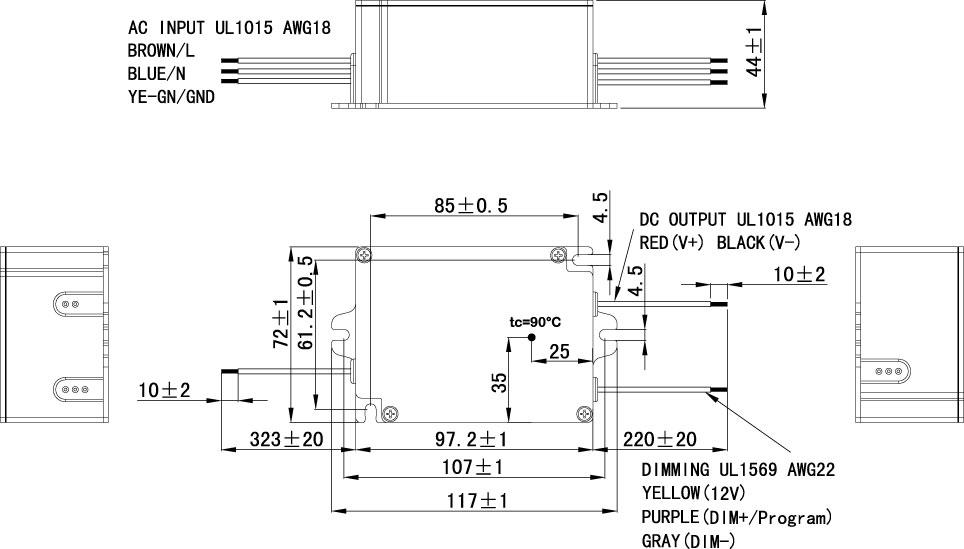 25W/35W Ex LED Driver Dimension