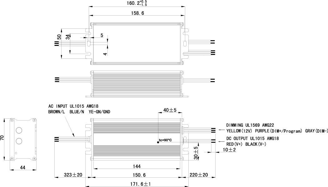 60W/100W Ex LED Driver Dimension