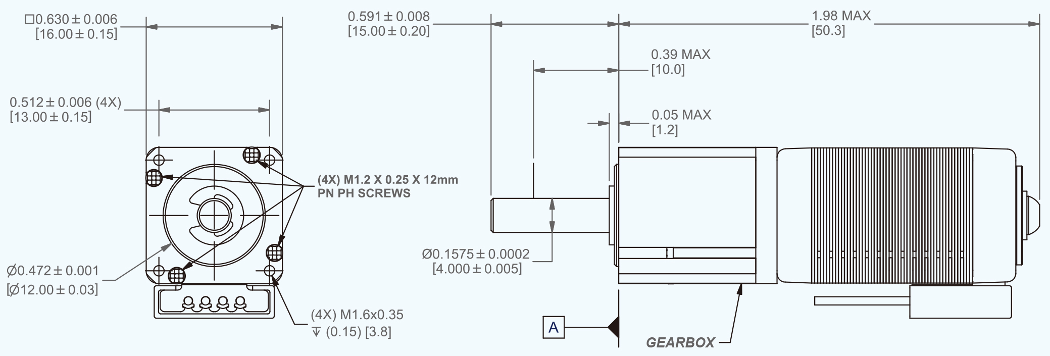 PT106 + gearbox dimensions