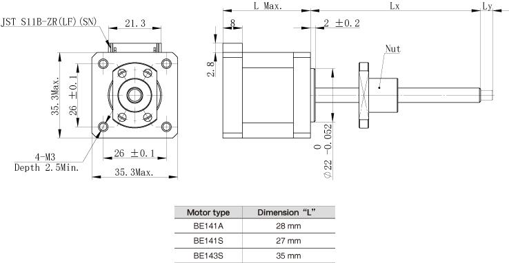 The motor dimension of NEMA14 Ball Screw Linear stepper Motors