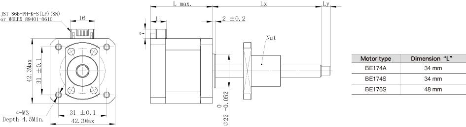 The motor dimension of NEMA17 Ball Screw Linear stepper Motors