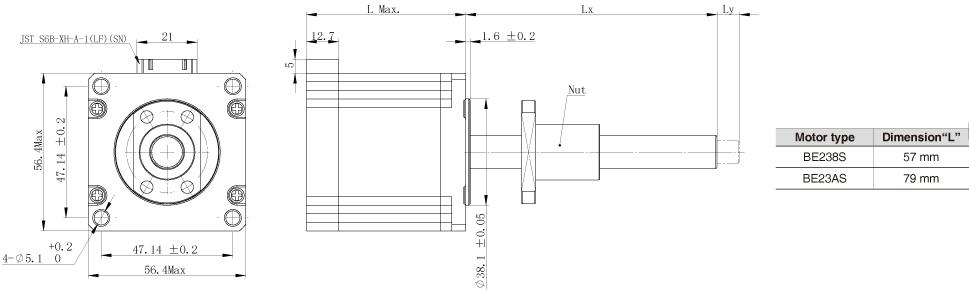 The motor dimension of NEMA23 Ball Screw Linear stepper Motors