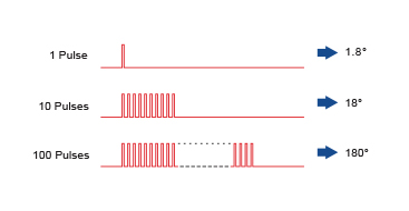The length of Rotation is Proportional to the Number of Pulses